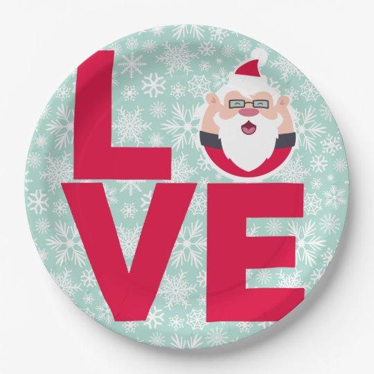 I Love Christmas Santa Snowflakes Paper Plate