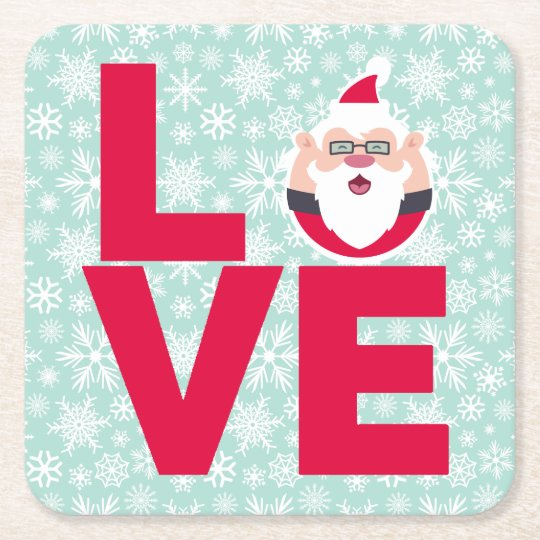 I Love Christmas Santa Snowflakes Square Paper Coaster