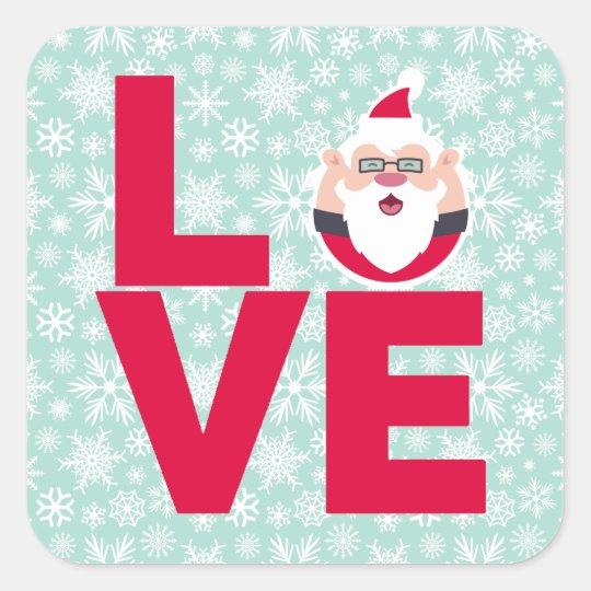 I Love Christmas Santa Snowflakes Square Sticker