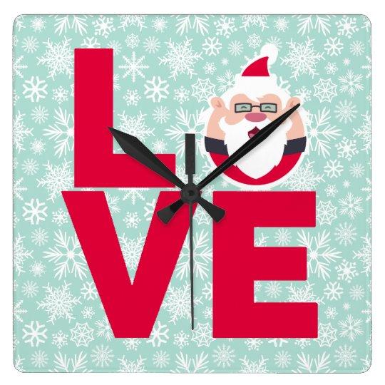 I Love Christmas Santa Snowflakes Square Wall Clock