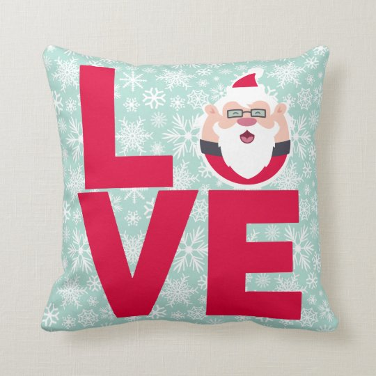 I Love Christmas Santa Snowflakes Throw Pillow
