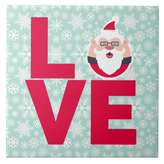 I Love Christmas Santa Snowflakes Tile