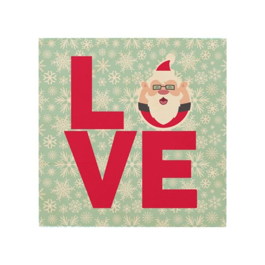 I Love Christmas Santa Snowflakes Wood Wall Decor