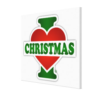 I Love Christmas Stretched Canvas Prints