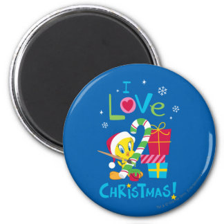 I Love Christmas - TWEETY™ 2 Inch Round Magnet