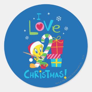 I Love Christmas - TWEETY™ Round Sticker