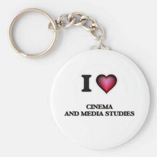 I Love Cinema And Media Studies Basic Round Button Keychain