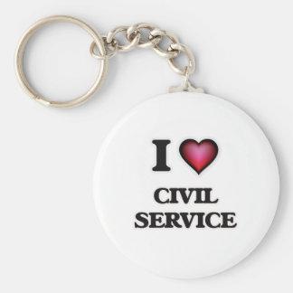 I love Civil Service Basic Round Button Keychain