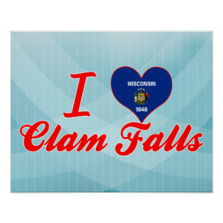 I Love Clam Falls, Wisconsin Posters
