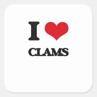 I Love Clams Square Sticker