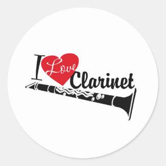 I Love Clarinet Classic Round Sticker