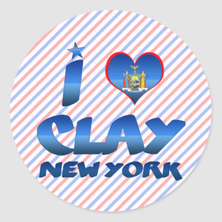 I love Clay, New York Classic Round Sticker