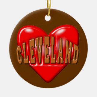 I Love Cleveland Round Ceramic Ornament