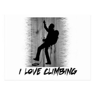 I Love Climbing Cliff Hanger Postcard