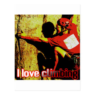 I Love Climbing Flagging Postcard