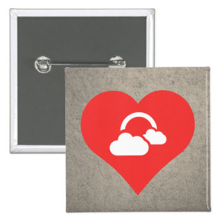 I Love Clouds Design 2 Inch Square Button