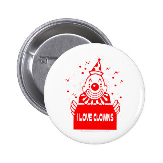 I Love Clowns - Retro Circus Art 2 Inch Round Button
