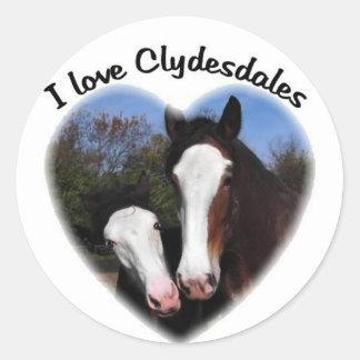 I love clydesdales round sticker