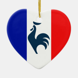 I love cock France flag Ceramic Heart Ornament