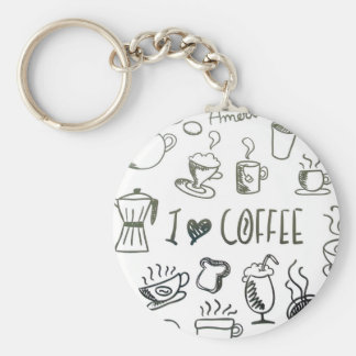I Love Coffee Basic Round Button Keychain