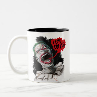 I Love Coffee Crazy Laughing Zombie Clown Two-Tone Coffee Mug