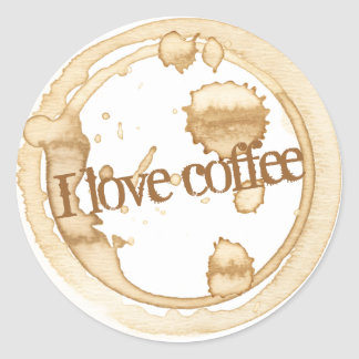 I Love Coffee Grunge Text with Coffee Stains Classic Round Sticker