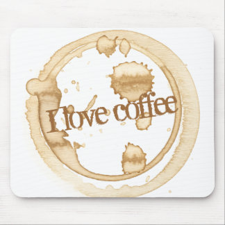 I Love Coffee Grunge Text with Coffee Stains Mouse Pad