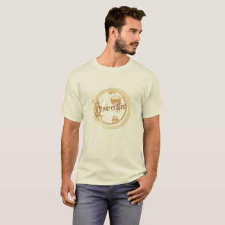 I Love Coffee Grunge Text with Coffee Stains T-Shirt