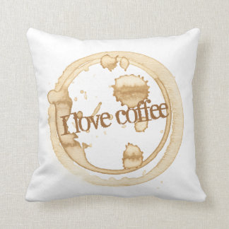 I Love Coffee Grunge Text with Coffee Stains Throw Pillow