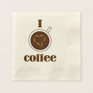 I Love Coffee Latte Heart Paper Napkins