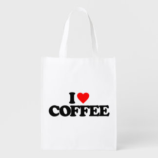 I LOVE COFFEE REUSABLE GROCERY BAGS