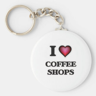 I love Coffee Shops Basic Round Button Keychain