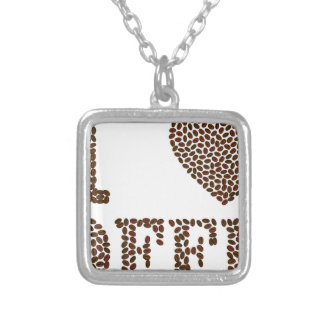 I Love Coffee Silver Plated Necklace