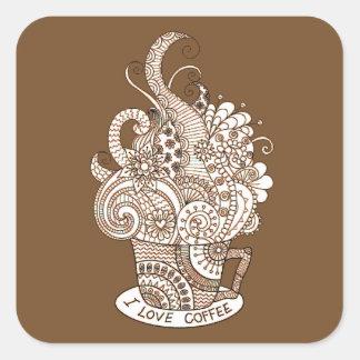 I Love Coffee Square Sticker