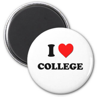 I love College 2 Inch Round Magnet