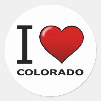 I LOVE COLORADO CLASSIC ROUND STICKER