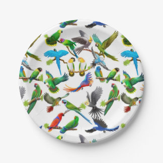 I Love Colorful Parrots Paper Plates