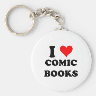 I Love Comic Books Basic Round Button Keychain