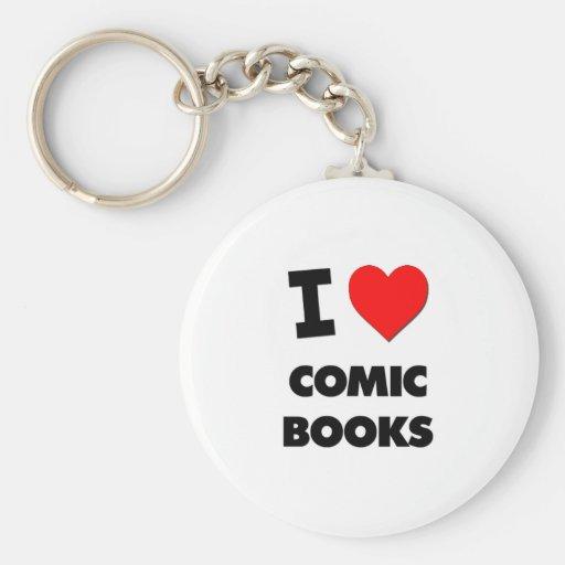 I Love Comic Books Key Chain