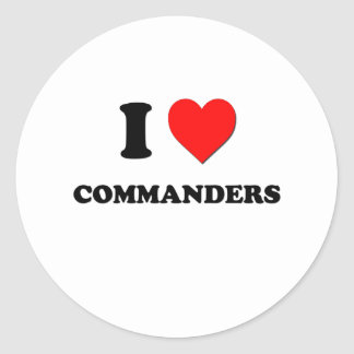 I love Commanders Round Stickers