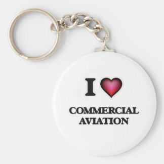 I Love Commercial Aviation Basic Round Button Keychain