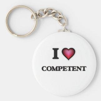 I love Competent Basic Round Button Keychain