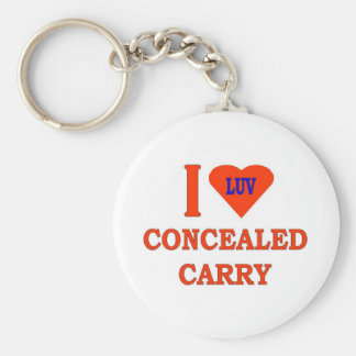 I LOVE CONCEALED CARRY BASIC ROUND BUTTON KEYCHAIN
