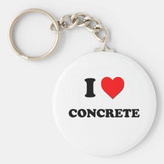 I love Concrete Basic Round Button Keychain