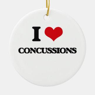 I love Concussions Round Ceramic Ornament