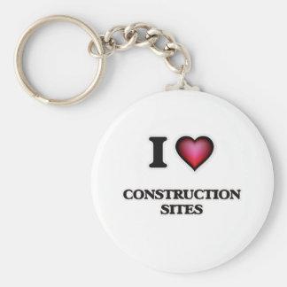 I love Construction Sites Basic Round Button Keychain