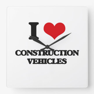 I love Construction Vehicles Square Wall Clock