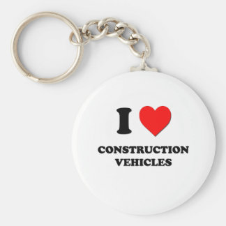 I love Construction Vehicles Basic Round Button Keychain