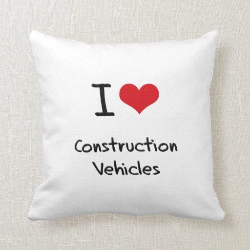I love Construction Vehicles Pillow