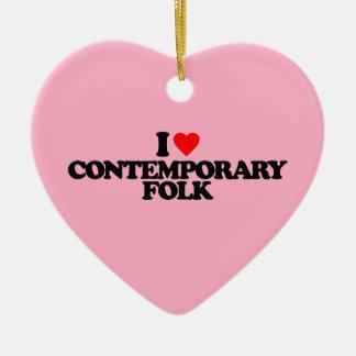 I LOVE CONTEMPORARY FOLK CERAMIC HEART ORNAMENT